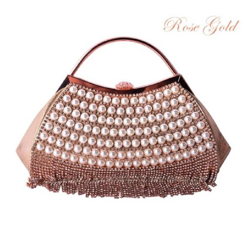 rose gold vintage style crystal & pearl clutch bag, evening bag
